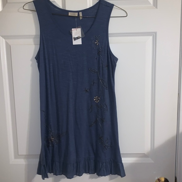 LOGO Beaded Tank with Pleated Voile Trim